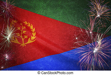 Eritrea Flag Firework Grunge Concept real fabric - Textile...
