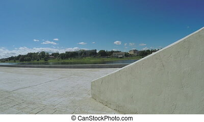 Descent to river and waterfront - Concrete descent to river...