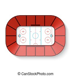 Hockey arena, top view vector illustration