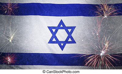 Israel Flag Firework Grunge Concept real fabric - Textile...