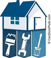 Home repairs with a tool for business symbol