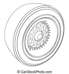 Automotive wheel isolated on white. Vector
