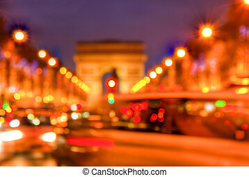 Abstract Traffic on Champs Elysees - Abstract out of focus...