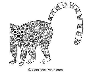 Ring tailed lemur coloring vector for adults - Ring tailed...
