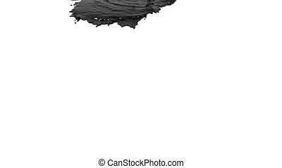black liquid pouring on white background. Colored paint -...