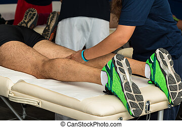 Athlete's Muscles Massage after Sport Workout - Athlete's...
