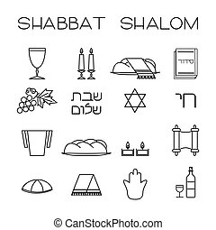 "Shabbat symbols set. Linear icons. Hebrew text ""Shabbat..."