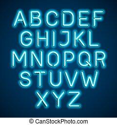 Blue neon light glowing font