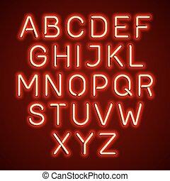 Red neon light glowing alphabet