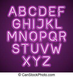 Pink neon light alphabet