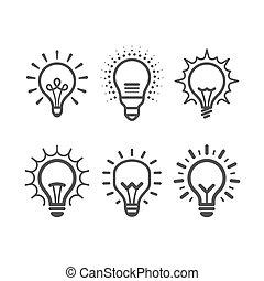 Lit light bulb icons set