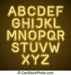 Yellow neon light glowing alphabet