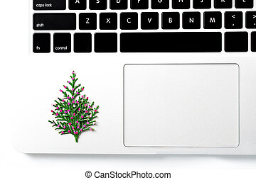 Computer laptop and christmas gift. pine tree with new year decoration