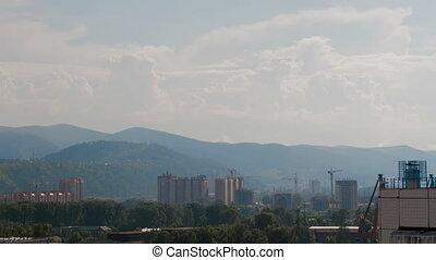 Summer Sun City Sunset Mountain Cityscape - Timelapse UHD of...