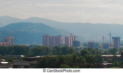 Summer Sun City Sunset Mountain Cityscape - 4K Timelapse UHD...