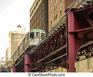 Chicago elevated Subway - Elevated commuter train in the...