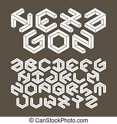 Hexagon typeface made of impossible shapes