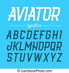 Aviator style typeface - Aviator typeface, modern style...