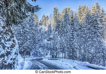 Winter Road - Beautiful road in Alps during the winter...