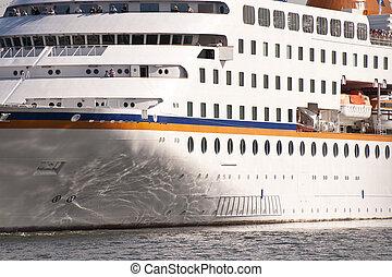 Cruiser in the port of Kiel, Germany