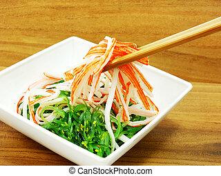 japanese seaweed salad and crab stick