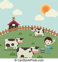 Farm life, cow on the grass ground and ranch house in a sunny day.