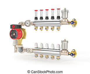 Collector, manifold, heating system for underfloor heating....