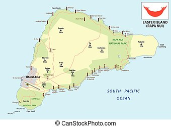 easter island map with flag