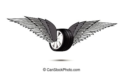 Car wheel and tire with flying pair of wings for logo and emblem design vector illustration eps10 002