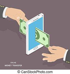 Online money transfer isometric vector illustration.