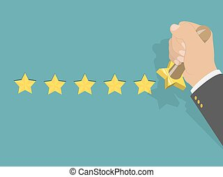 Five star rating isometric vector illustration. Man's hand...