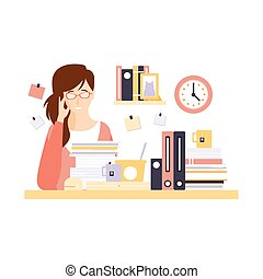 Woman Office Worker In Office Cubicle With Too Much Work...