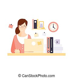 Content Woman Office Worker In Office Cubicle Having Her...