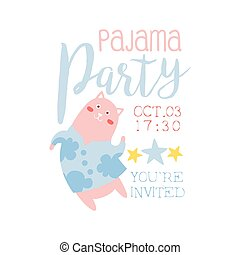 Girly Pajama Party Invitation Card Template With Cat...