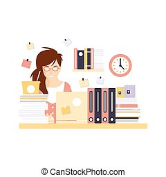 Stressed Woman Office Worker In Office Cubicle Having Her Daily Routine Situation Cartoon Character