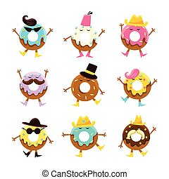 Humanized Doughnut Cartoon Characters With Arms And Legs...