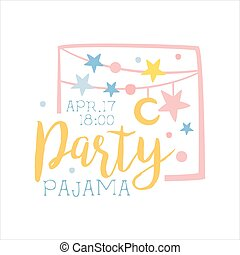 Girly Pajama Party Invitation Card Template With Garlands...