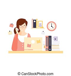 Busy Woman Office Worker In Office Cubicle Having Her Daily...