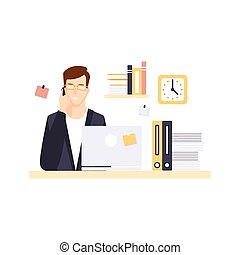 Busy Man Office Worker In Office Cubicle Having His Daily...