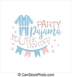 Girly Pajama Party Invitation Card Template With Paper...