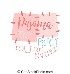 Girly Pajama Party Invitation Card Template With Cloth...