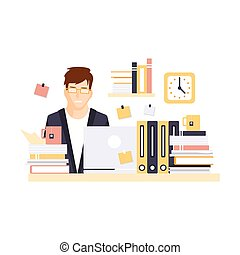 Stressed Man Office Worker Overloaded With Work In Office Cubicle Having His Daily Routine Situation Cartoon Character