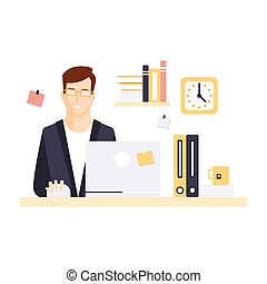 Content Smiling Man Office Worker In Office Cubicle Having...