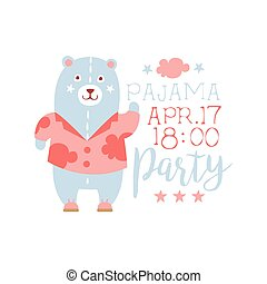 Girly Pajama Party Invitation Card Template With Toy Bear...