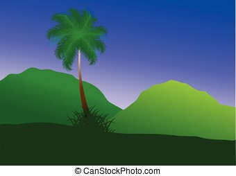 green landscape - vector, green landscape with mountains and...