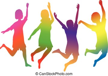 people jumpping - vector, colorful silhouette of people...