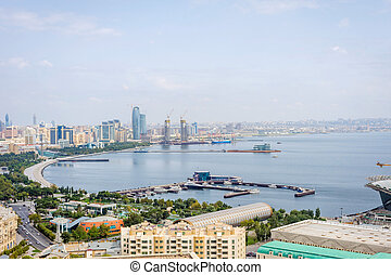 View over Baku, Azerbaijan - View over Baku skyline with...