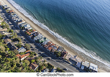 Malibu Beach Homes and Pacific Coast Highway Aerial - Aerial...