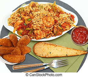 Shrimp Sausage Chicken Jambalaya with Potatoe Wedges and...