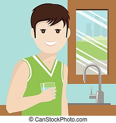 Man drinking water in the kitchen with town background